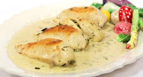 وصفات دجاج : صدور الدجاج بالسبانخ